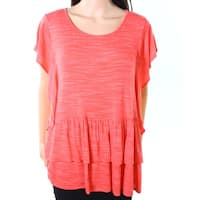 Moa Moa Coral White Women's Large Ruffle Knit Top