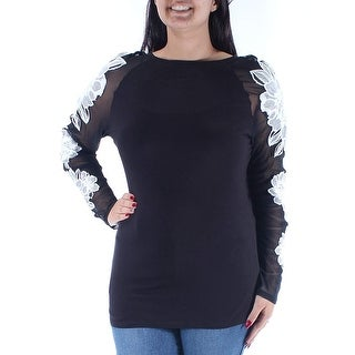INC Women's Large Embroidered Illusion Blouse, Black, L