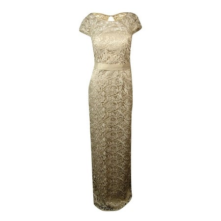 Adrianna Papell Womens Belted Illusion Long Lace Dress