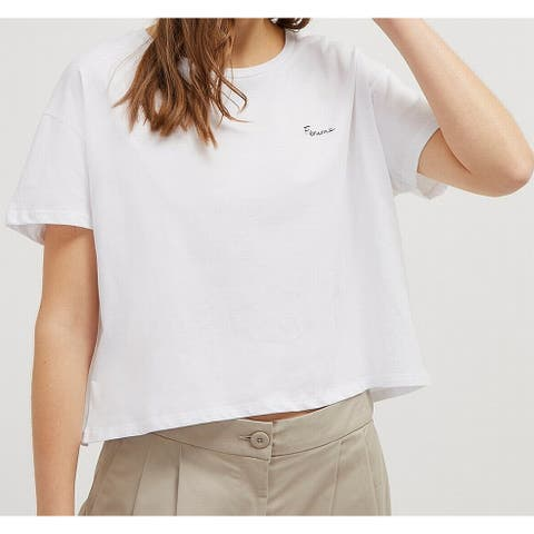 French Connection Women's Crop Top White Size Small S Femme Box Tee