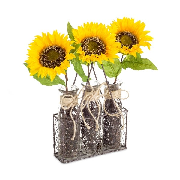 "Set of 2 Yellow and Green Sunflower Bottle in Holders 14.5"" - N/A"