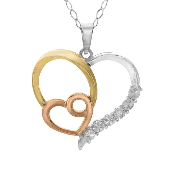 Heart Pendant with Diamond in 14K Yellow & Rose Gold-Plated Sterling Silver