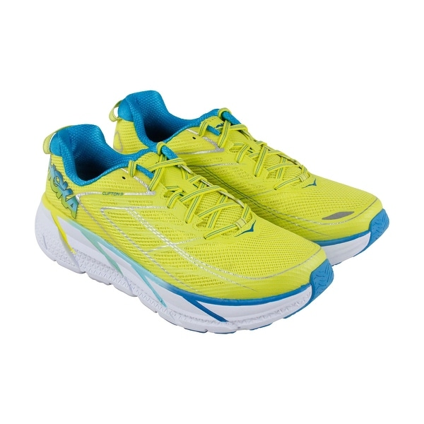 Hoka One One Clifton 3 Womens Yellow Mesh Athletic Lace Up Running Shoes