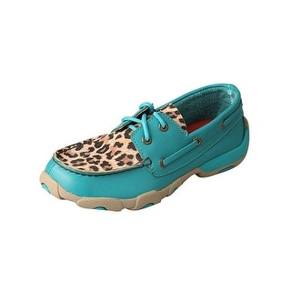 Twisted X Casual Shoes Girls Red Buckle Moc Turquoise Leopard YDM0029