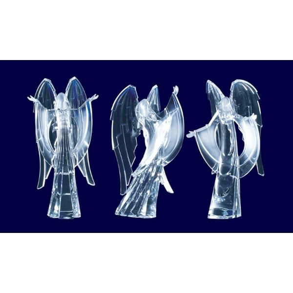 Pack of 6 Icy Crystal Religious Christmas Praising Angel Figurines 9""