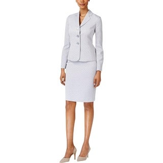 Le Suit Womens Skirt Suit Chevron Print 3-Button Front