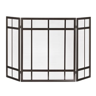 Pleasant Hearth FA017SB  Mission Style 3-Panel Fireplace Screen - Wenge