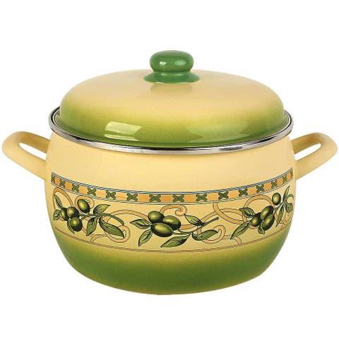 MET-ROT Olive Garden Enamel on Steel 7.9-quart High-End Deep Stock Pot