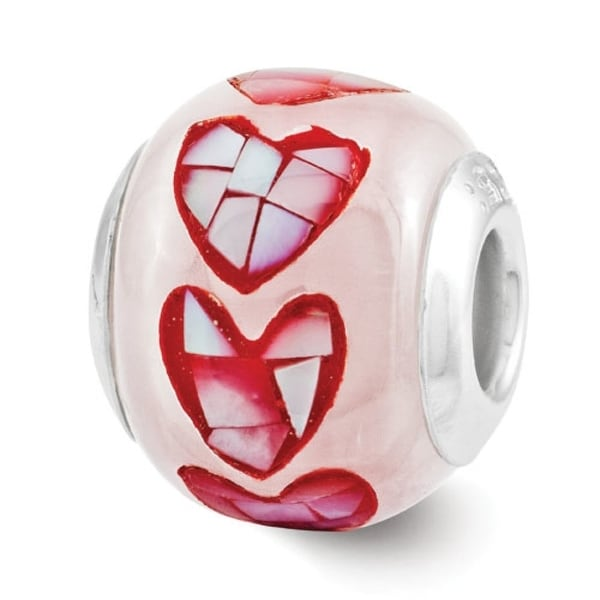Sterling Silver Reflections Pink Fiber Optic Glass Mosaic Bead (4mm Diameter Hole)