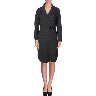 Calvin Klein Womens Long Sleeves Knee-Length Sweaterdress