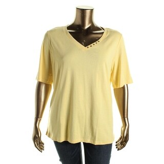 Karen Scott Womens Plus Cotton Embellished Casual Top