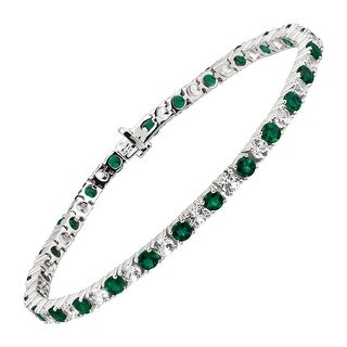 9 1/4 ct Created Emerald & White Sapphire Tennis Bracelet in Sterling Silver