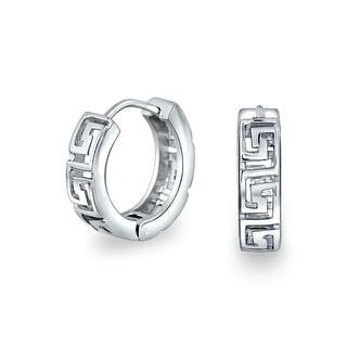 Bling Jewelry .925 Silver Greek Key Huggie Hoop Earrings Rhodium Plated
