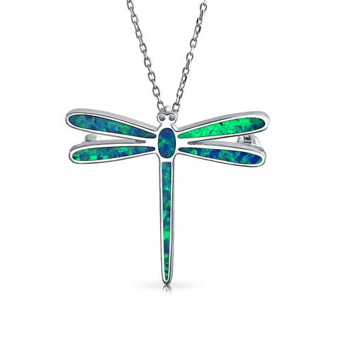Blue Created Opal Inlay Dangle Garden Dragonfly Pendant Necklace For Women 925 Sterling Silver October Birthstone