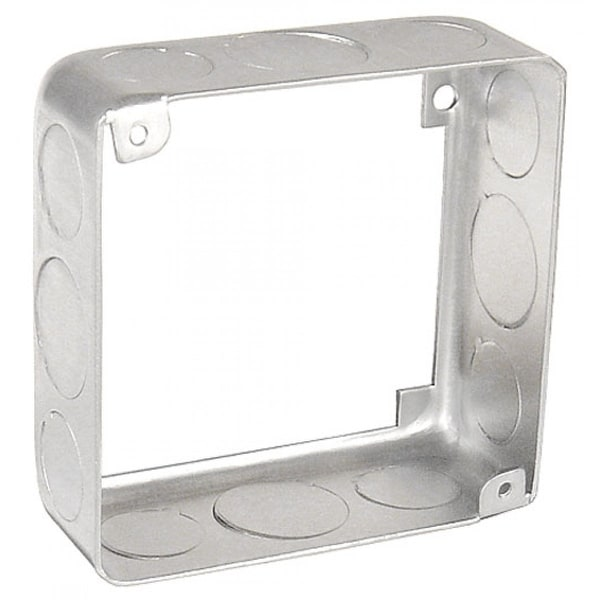 10 Pcs, 4 Square Chicago Plenum Extension Ring, 1-1/2 in  Deep, (8) 1/2 in   & (4) 3/4 in  Knockouts, 0 0625 Galvanized Steel
