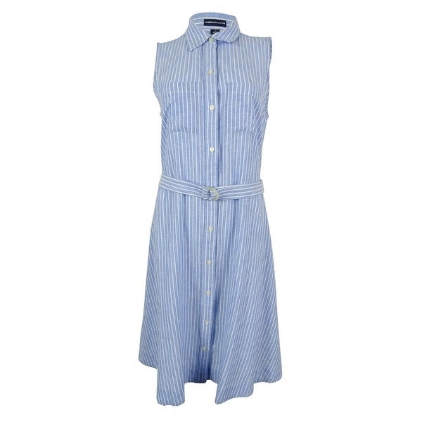 American Living Women's Linen Blend Shirt Dress - Blue/White