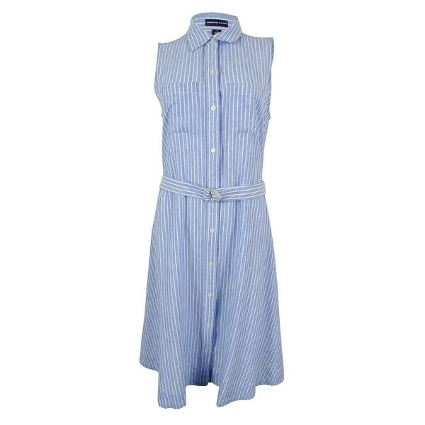 dab9cd33c30 Shop American Living Women s Linen Blend Shirt Dress - Blue White - Free  Shipping On Orders Over  45 - Overstock - 14809645