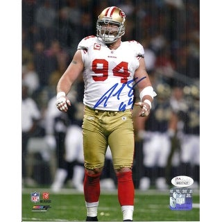 Justin Smith Autographed San Francisco 49ers 8x10 Photo white jersey wJSA