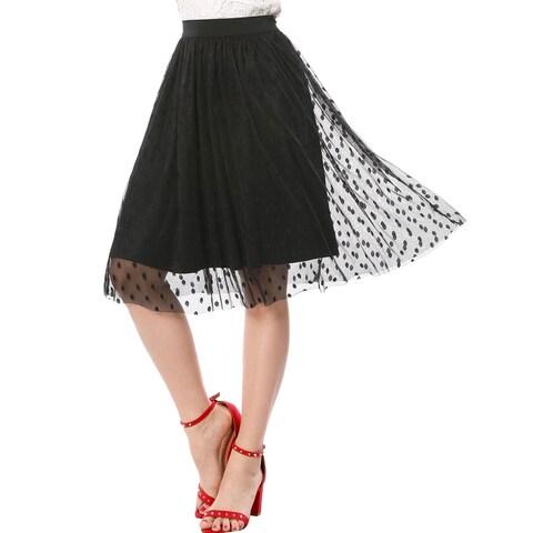 Allegra K Women Polka Dots Elastic Waistband A Line Midi Mesh Skirt