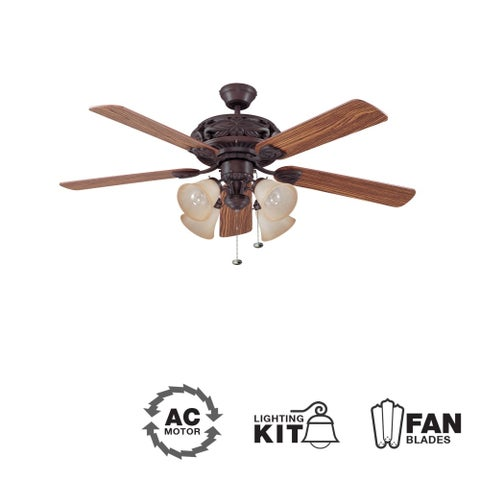 "Ellington Fans Grandeur-L Classic 52"" 5 Blade Indoor Ceiling Fan - Blades and Light Kit Included - Aged Bronze"
