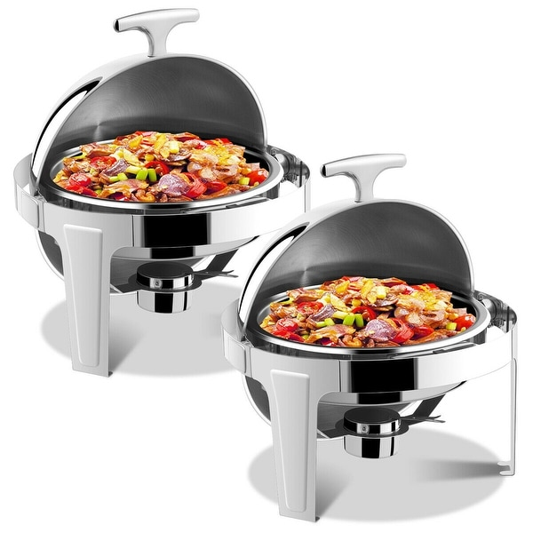 Gymax 2 Packs Stainless Steel Round Roll Top Chafer 6 Qt Chafing Dish