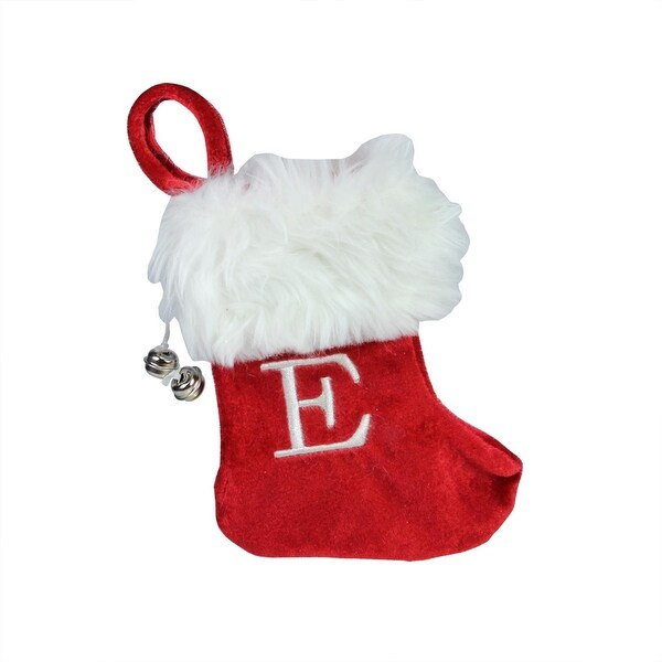 "7"" Red & White ""E"" Embroidered Mini Christmas Tree Stocking"