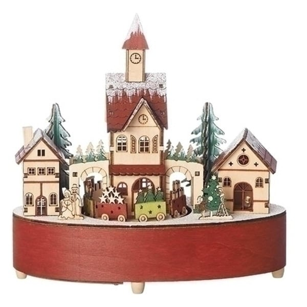 set of 2 led revolving christmas train in village table top decoration brown