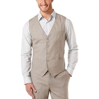 PERRY ELLIS Travel Luxe Vest X-Large XL Alloy Tan Striped Button-Front