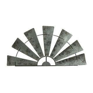 Large Distressed Metal Half Moon Windmill Wall Sculpture