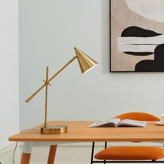 "Link to Novogratz x Globe Tacoma 18"" Desk Lamp, Matte Brass, Adjustable Height, Balance Arm, Brass, Rotary Switch on Shade Similar Items in Desk Lamps"