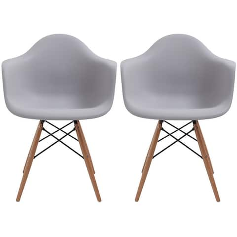 Set of 2 Designer Dining Eiffel Dowel Chairs Armchairs Matte Accent Natural Wood Retro For Kitchen Bedroom Office Molded