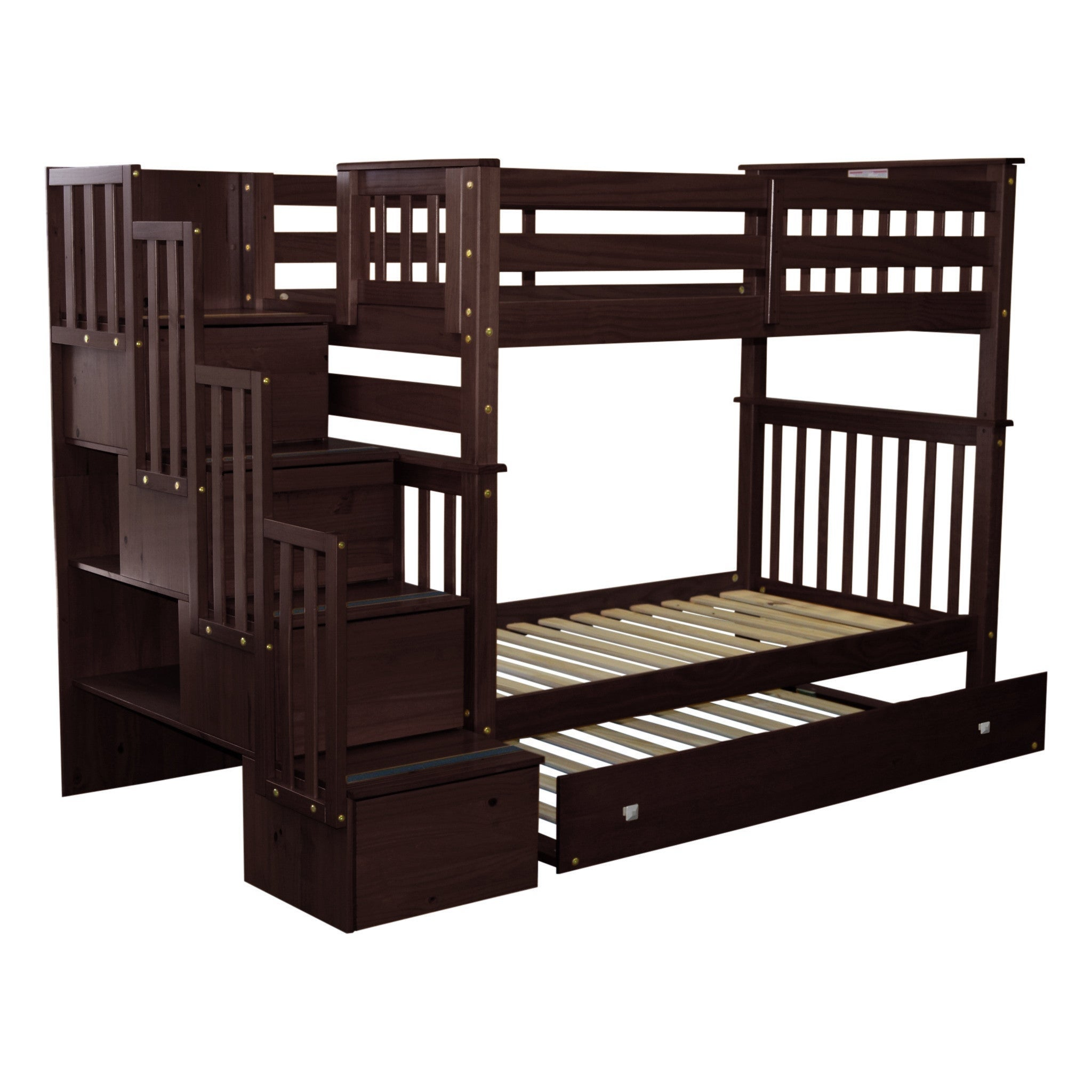 Picture of: Bedz King Bunk Beds Twin Over Twin Stairway 4 Drawers Twin Trundle Cappuccino Overstock 14229156