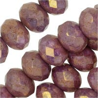 Czech Fire Polished Glass, Donut Rondelle Beads 8.5x6mm, 25 Pieces, Violet Luster