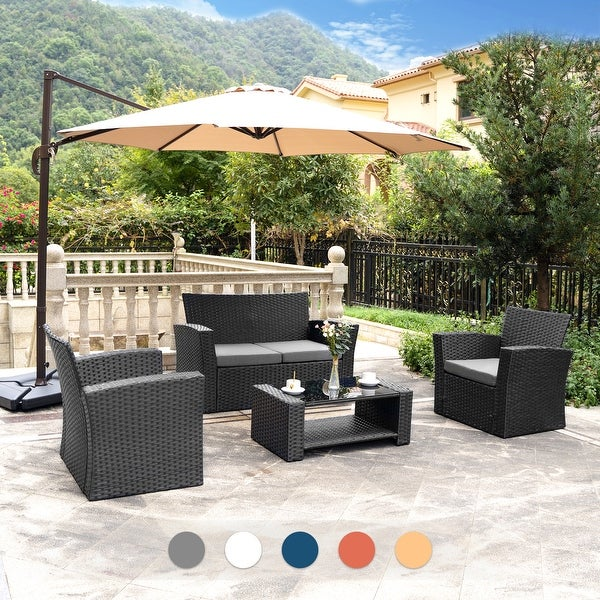 Grandview Outdoor 4-piece Black Wicker Conversation Set with Cushions. Opens flyout.
