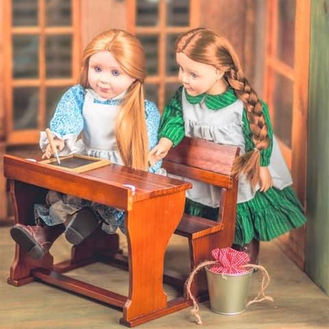 "Wood Furniture School Desk fits 2 18"" Dolls, Like American Girl Dolls"