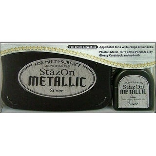 StazOn Solvent Ink Pad Large Metallic Silver