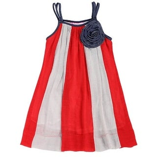 Lele For Kids Little Girls Red Grey Panel Rosette Accent Casual Dress