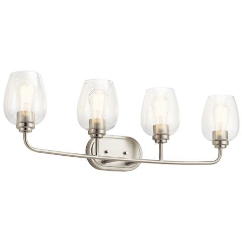 Kichler Valserrano 33.50 inch 4 Light Vanity Light with Clear Seeded Glass in Brushed Nickel