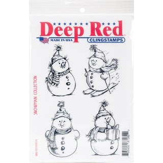 "Deep Red Cling Stamp 4""X6""-Snowman Collection"