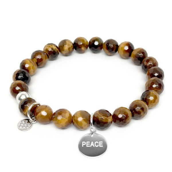 "Brown Tiger's Eye Peace Silver Charm Lucy 7"" Bracelet"