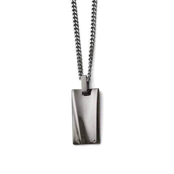 Chisel Stainless Steel Polished Black IP-plated Rectangle Necklace - 22 in