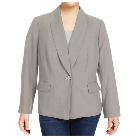 Le Suit Womens Plus Seychelles One-Button Blazer Melange Shawl Collar - 18W