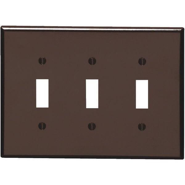 Leviton Brn 3-Toggle Wall Plate
