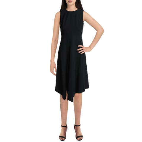 Donna Karan Womens Cocktail Dress Woven Asymmetrical - Navy