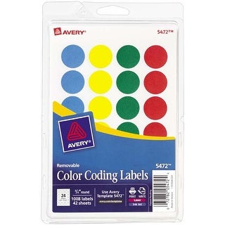 Assorted (Blue; Green; Red; Yellow) - Avery Print/Write Self-Adhesive Removable Labels 1008/Pkg
