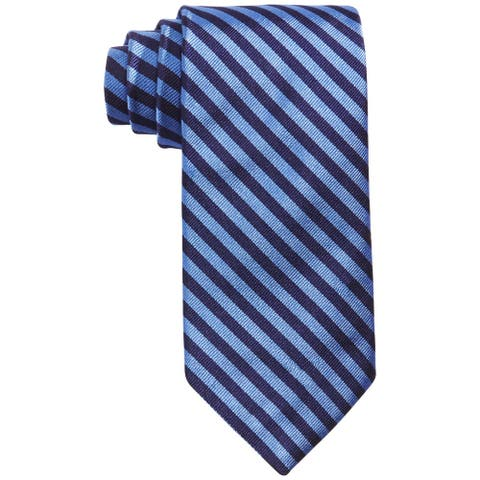 Brooks Brothers Men's Navy Blue Classic Slim Striped Neck Tie Silk
