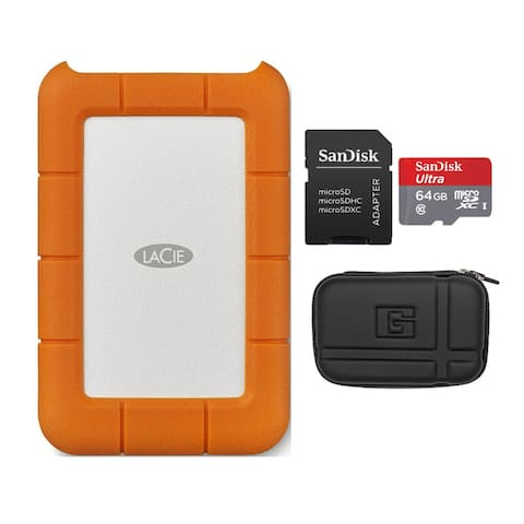 LaCie Rugged USB-C 4TB Portable External Hard Drive with Case Bundle