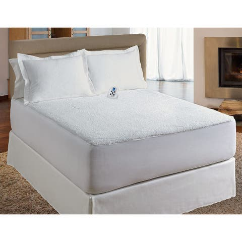 Serta Sherpa Electric Heated Warming Mattress Pad - White