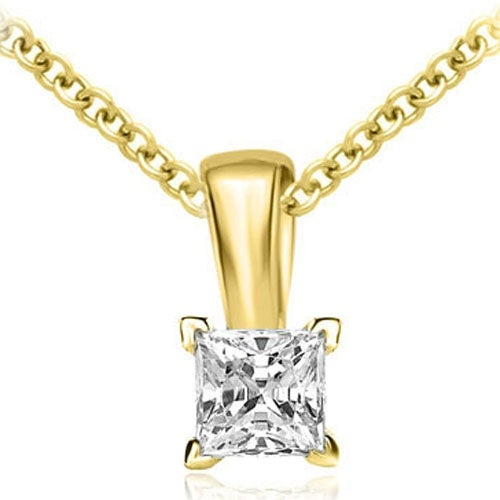 0.25 cttw. 14K Yellow Gold Princess Cut Diamond 4-Prong Basket Solitaire Pendant