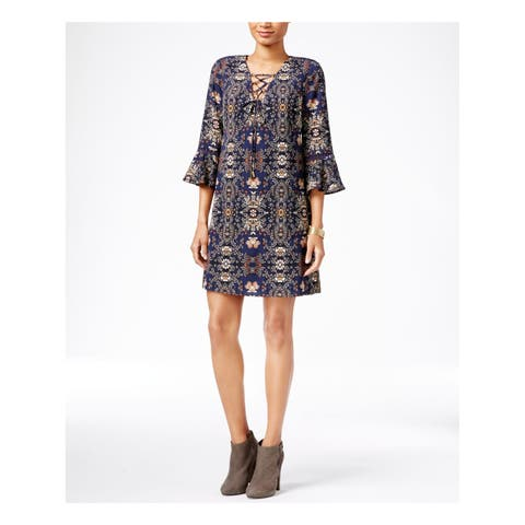 JESSICA SIMPSON Womens Purple Lace-up Printed Bell Sleeve V Neck Above The Knee Shift Dress Size: 2